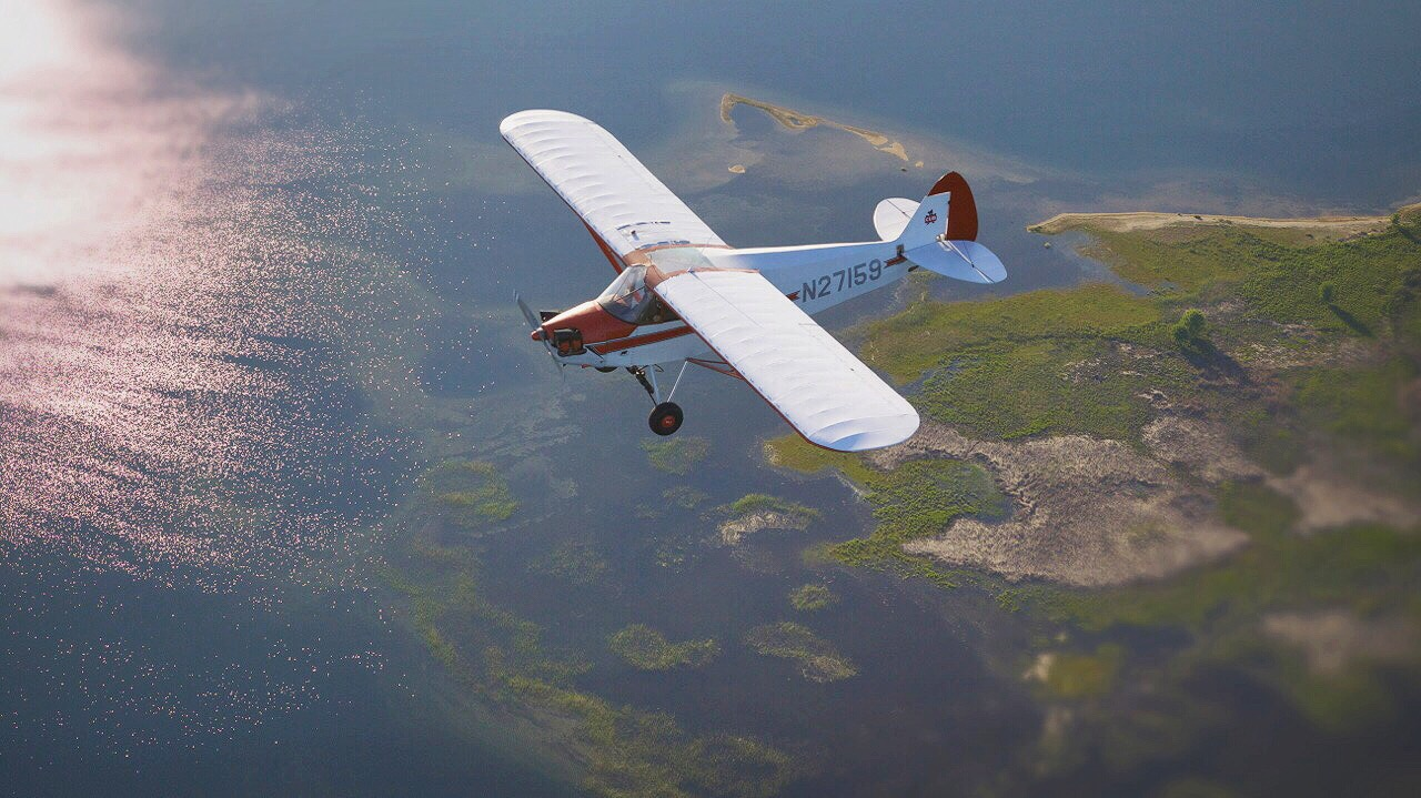 J5 Cub above Quabbin Reservoir